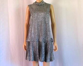 SALE! 1960s Eve Le Coq Silver Drop-Waist Pleated Mini Dress Sz. S/M