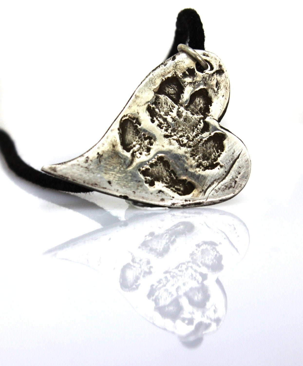 Dog cat custom paw print necklace - handmade fine silver paw print pendant from your pets print - animal lover gift - pet memorial jewellery
