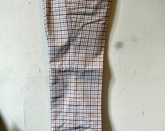 Vintage 1970s LEVIS PANATELA  Cream/Brown/Blue Check Flat Front Trousers Pants Size 30x30