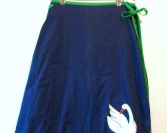 Vintage Skirt, Blue Skirt, Swan Skirt, Vintage Blue Skirt, Wrap Skirt, Vintage Wrap Skirt, Embroidered Skirt, Midi Skirt, Blue & White, Swan