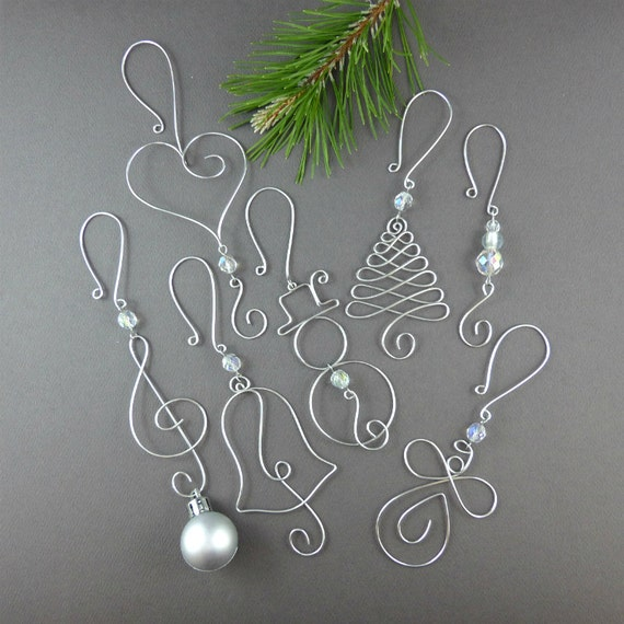 Five beaded christmas ornament hooks wire by wireexpressions