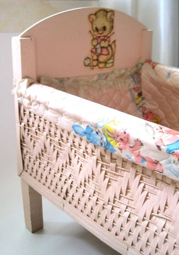 Items Similar To Vintage Wicker Doll Crib Bassinet Pink