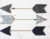 Decorative Arrow - Wool Felt, Wood, Twine and Embroidery Thread- Charcoal Gray, Smoke Gray and Navy Blue with Mint Accents