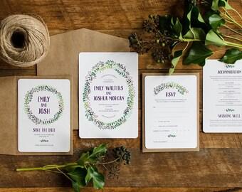 Wedding Stationery Suite Sample  | Custom Invitations  |  Laurel Foliage Wreath Design