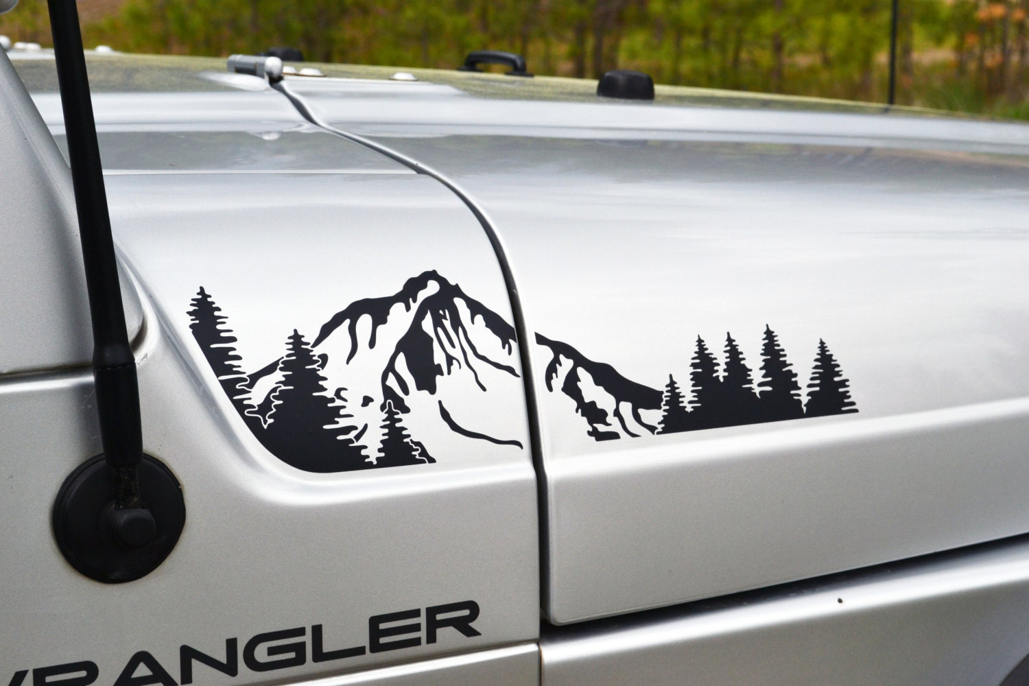 Jeep Wrangler Tj Extended Hood With Mountain And Trees Decal