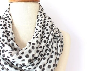 Scarf, Chiffon Scarf, Loop Scarf, Women Scarf, İnfinity Scarf, Scarf, Gift, Dotto Scarf, Scarves, Black and White, Akirman