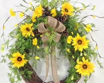 Sunflower Wreath, Spring Wreath, Summer Wreath, Sunflowers, Spring Floral, Summer Floral, Sunflower Door Décor, Burlap Wreath