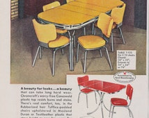 1950s Chromcraft Dinette Ad Mid Century America Home Interior Design Style Vintage Advertising Yellow Table & Chairs Print Wall Art Decor
