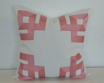 Rose Pink Ribbon Fretwork Design on White Linen Pillow Cover