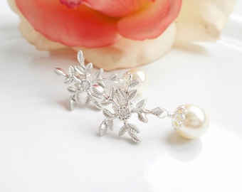 FREE US Shipping Swarovski Pearl Bridal Earrings Pearl And Leafy Branch Bridal Earrings Bridal Jewelry Pearl And Snowflake Bridal Earrings