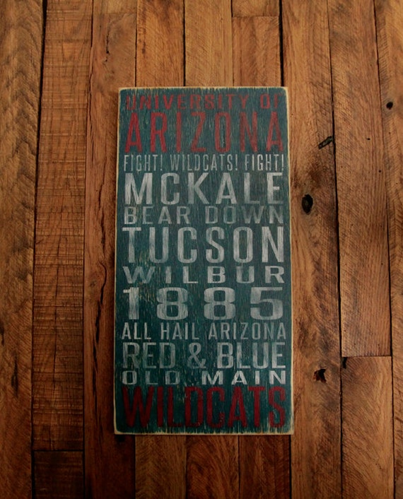 University of Arizona Wildcats Distressed Wood Sign-Great Father's Day Gift!