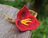 Hand felted brooch,felte wool jewelry, red flower with green leaf .OOAK