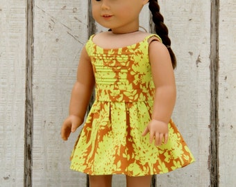 American Girl Doll Dress - Sundress - Chartreuse and Brown