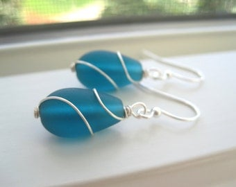 Teal Earrings - Cultured Sea Glass Earrings - Teal Jewelry - Wire Wrapped - Beach Jewelry - Blue Bridesmaid Set - Cultured Sea Glass