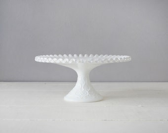 Fenton Cake Stand - Milk Glass Cake Plate - Fenton Silver Crest - Milk Glass Cake Stand - Fenton Silvercrest - Fenton Spanish Lace