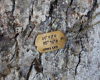 Dog Tag Location Personalized Necklace