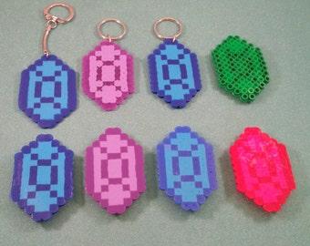 Zelda Rupee perler bead magnet, Rupee perler bead art keychains, SNES Zelda, Link, Rupee, NES Zelda, 8 bit rupee keychain, video game gift