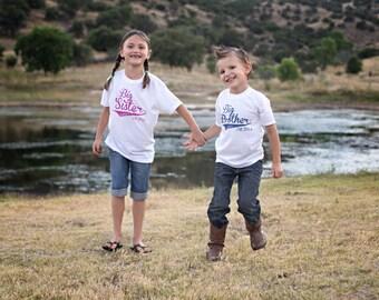 Big Brother Big Sister Shirt Set, Promoted to Big Brother Sister, Coordinting Sibling Shirts, Matching Brother Sister Shirts