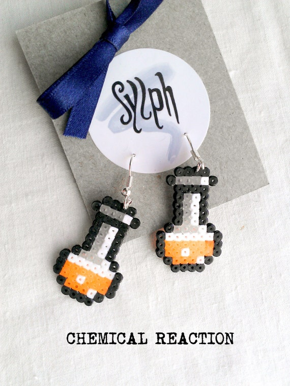 Neon orange pixelart Chemical Reaction potion earrings for a biologist, chemist or a labrat in 8bit retro style