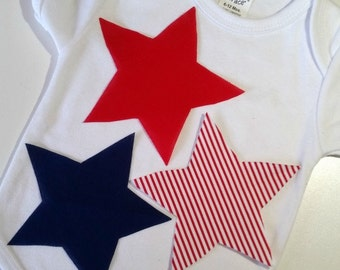 July 4th baby bodysuit, 4th of July baby boy clothes, 4th of July baby girl clothes, Stars Bodysuit, Red Whtie Blue Stars, 4th of July
