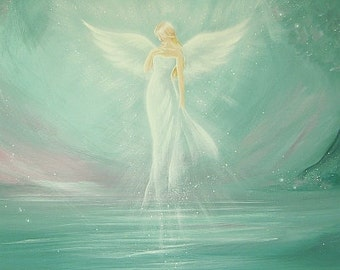 "Limited angel art photo ""ready for magic"", modern angel painting, artwork,ideal also for picture frame, gift,spiritual,magic,mystic"