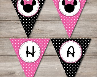 Minnie Mouse Pennant with Editable Text, Printable Minnie Mouse Inspired Birthday banner, DIY Printable Minnie Mouse Pennant, Pink Minnie
