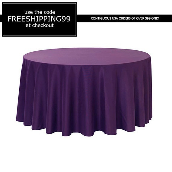 120 inch round polyester tablecloth purple by yourchaircovers for 120 inch round table linens