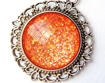 Orange Glass Pendant; Glitter Nail Polish Jewelry; Circle Pendant Necklace; Hand Painted Glass Cabochon Pendant; Bright Orange Necklace