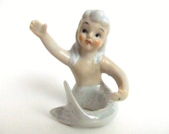 Mermaid Candle Holder, Candle Hugger, Opalescent Iridescent Mermaid Tail, Kitsch Kitschy Pixie, Vintage Mermaid,  Mermaid Figurine
