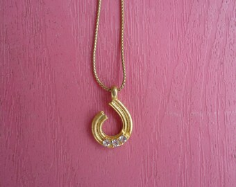 1980's Goldtone and Rhinestone Necklace