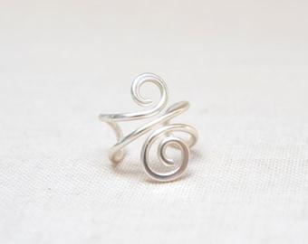 Silver Ear Cuff, No Piercing Wire Jewelry, Handmade Non-Pierced Ear Wrap, Anti-Tarnish Wire