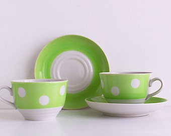 Vintage Green Dotted Cup and Saucer Set of 2, Soviet Polka Dot Coffee Tea Cups, Green with White Dots, Retro Tableware, USSR 1970s