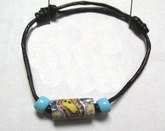 OOAK Hand Made Retro Psychedelic Bead Adjustable Bracelet 01