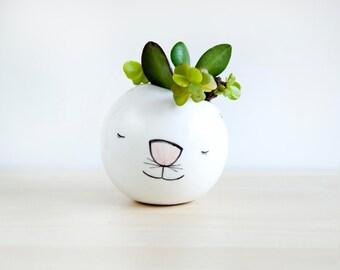 Cat ceramic plant pot, Face planter, Succulent planter, Ceramic animal planter, Ceramics & pottery, animal plant pot, Cute planter clay face