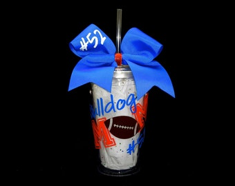 Deluxe Personalized Football Mom Tumbler Cup