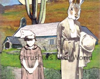 New - Beryl's Beginning -  Collage, Mixed Media, Anthropomorphic, Rabbit, Fairy Tale Art, Print
