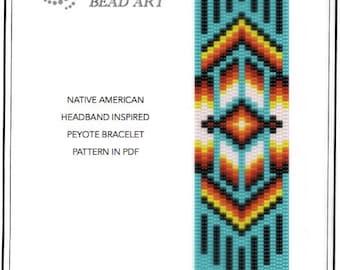 Peyote pattern for bracelet - Native American headband inspired peyote bracelet pattern PDF instant download