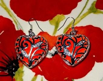 Glow in the Dark Earrings - Red Hearts Earrings - Red Earrings - Glowing Earrings - Glow Heart - Gifts for Her - Glow jewelry