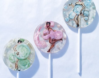 3 Peaches And Cream Flavored Marzipan Vintage Burlesque Dancer Lollipops