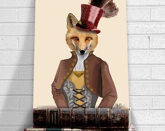 Fox art print - Vivienne, Steampunk fox  Art Poster Original Illustration Wall Art wall decor wall hanging Fox Picture Fox Painting