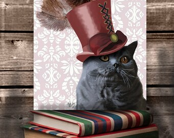 British shorthair Cat Print - Cat in Top Hat - British blue cat print funny cat art hipster cat lover gift cat wall art gift for wife
