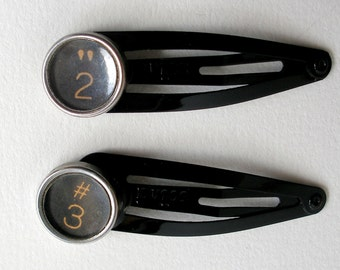Barrettes Pair, Vintage Typewriter Keys, 13.00, Lucky Numbers 2 and 3, Black Clip Hair Barrettes, Hair Jewelry