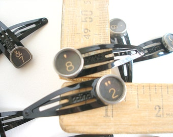 Barrettes Pair, Vintage Typewriter Keys, 13.00, Lucky Numbers 2 and 8, Black Clip Hair Barrettes, Hair Jewelry