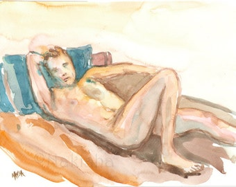 Reclining Man with Blue Tattoo - Original Watercolor Nude Painting - Mature