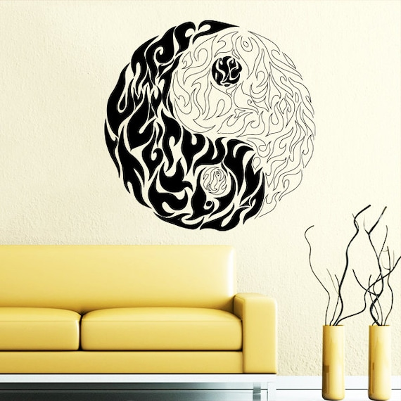 Wall decal yin yang flames of fire symbol by supervinyldecal for Meuble mural yin yang