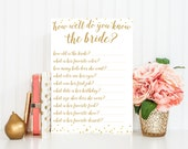 How Well Do You Know The Bride Bridal Shower Game - Bridal Shower Game - Instant Download - Bridal Shower Printable - White Gold BRS1