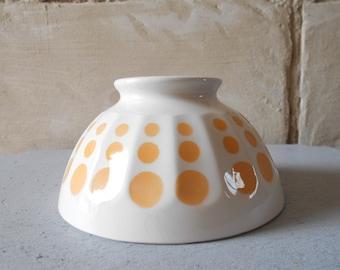 Lovely French cafe au lait bowl with yellow polka dots, café au lait bol, 1970.