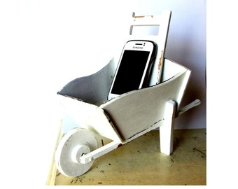 Cellphone accessories. Office organization. Office desk accessories. Shabby chic office. Farmhouse office. Charging station. Wheelbarrow.