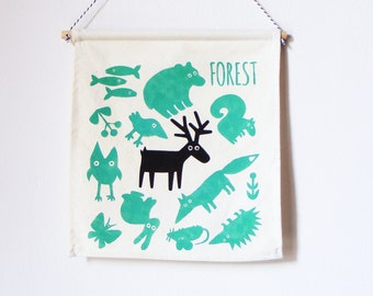 KIDS Wall banner. FOREST WILDLIFE  Wall Banner. Hand screen printed. Kids room wall flag. Childrens room decor. Kids decoration.