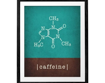 Caffeine print coffee teal print teal coffee poster caffeine molecule caffeine poster teal kitchen print kitchen poster kitchen wall art